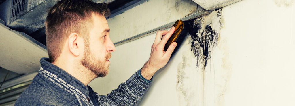 man cleaning mold damage house